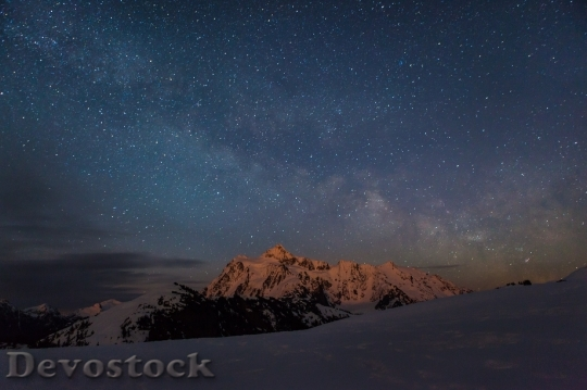 Devostock Stars Night Mountains Winter HD