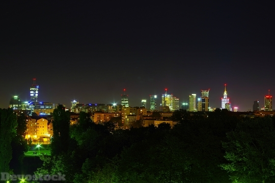 Devostock Warsaw Night Downtown 1588124 HD