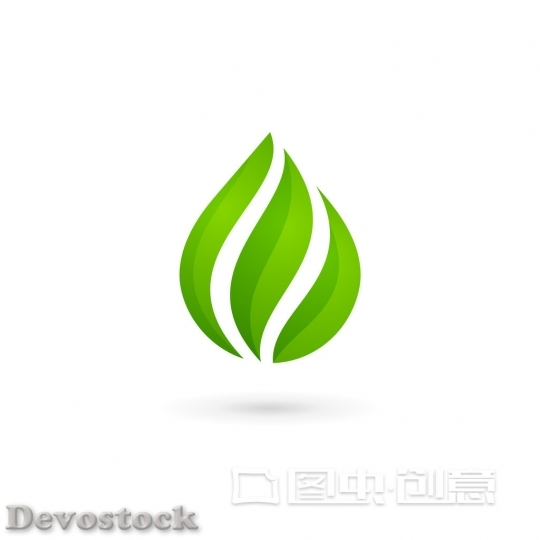 Devostock Water drop eco leaves logo design template icon. May be used in