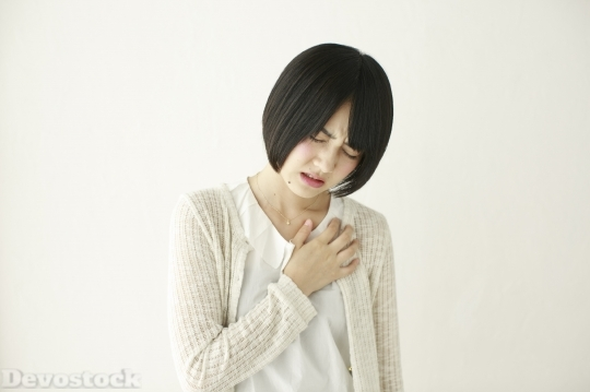 Devostock Beautiful JAPANESE WOMAN Girl HEARTEDNESS Pain Attack
