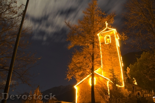 Devostock Church Christmas Light 28951 4K