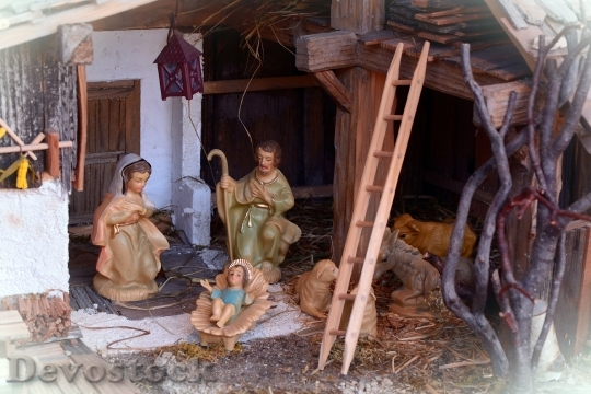 Devostock Crib Christmas Nativity Scne 2 4K