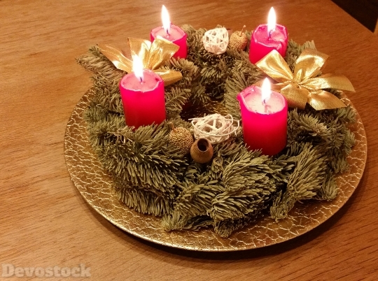 Devostock Wreath Advent Wreath Cadles 4K