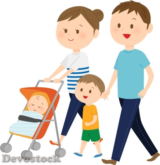 Devostock Illustration Family Walking