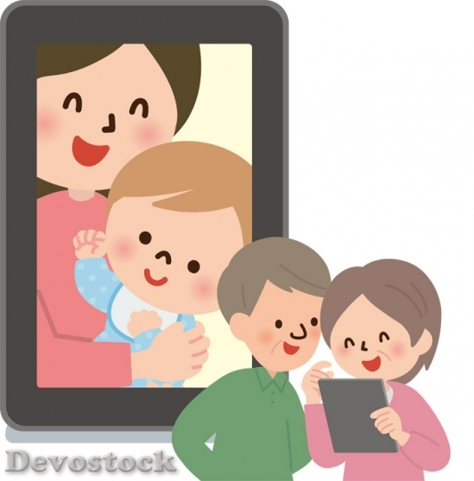 Devostock OLD GRANDFATHER GRANDMOTHER SEE GRANDCHILD PHOTOS TABLET PC