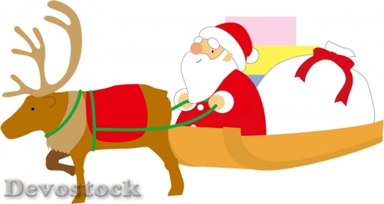 Devostock SANTA AND GIFTS ON REINDEER SLED