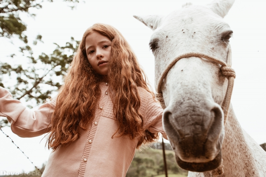 Devostock Animal Beautiful Girl Child Horse Nature 4k