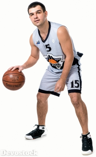 Devostock Basketball Player Man White Background 4k