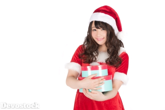 Devostock Beautiful Female Santa Claus Girl Red Many Gifts 4k