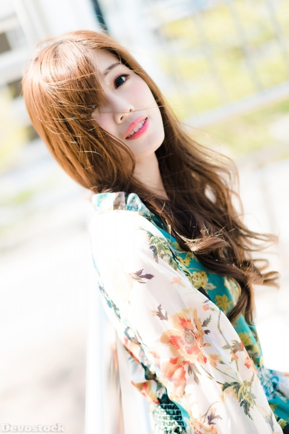 Devostock Beautiful Girl Brown Hair Outdoor Dress Floral Costume Smiling 4k
