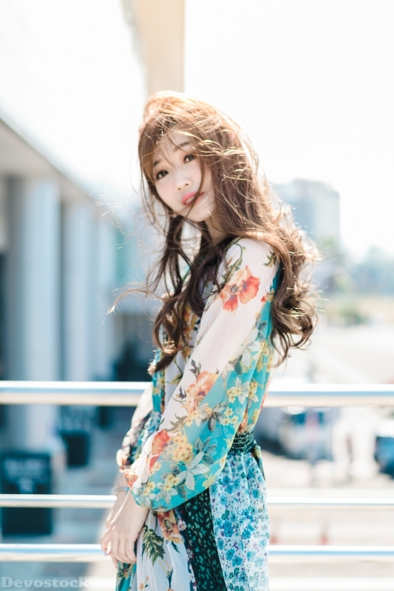 Devostock Beautiful Girl Outdoor Dress Floral Costume 4k