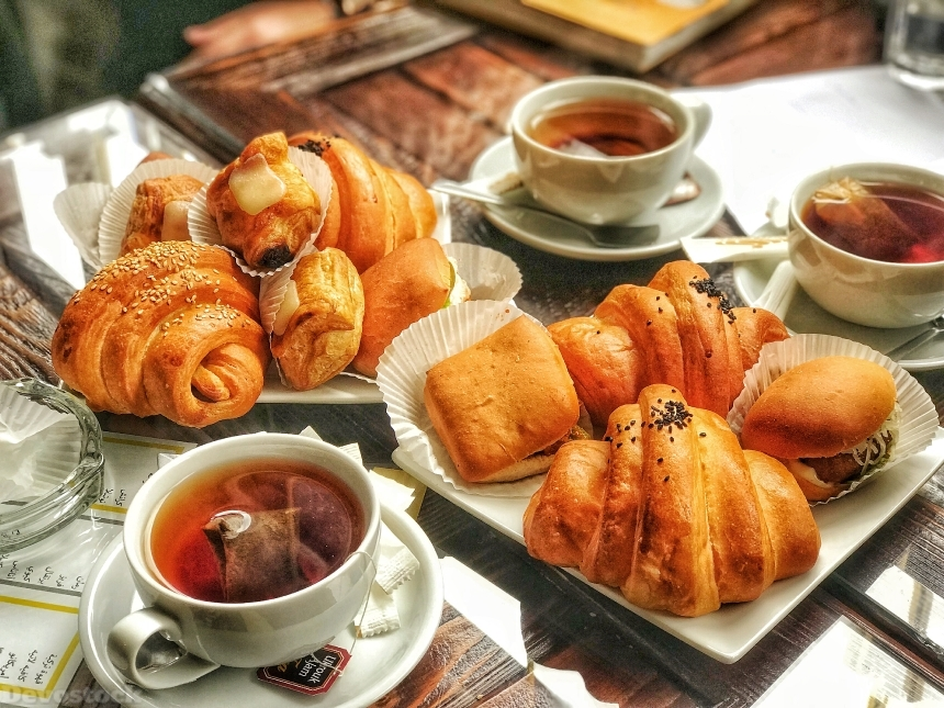 Devostock Croissants with tea