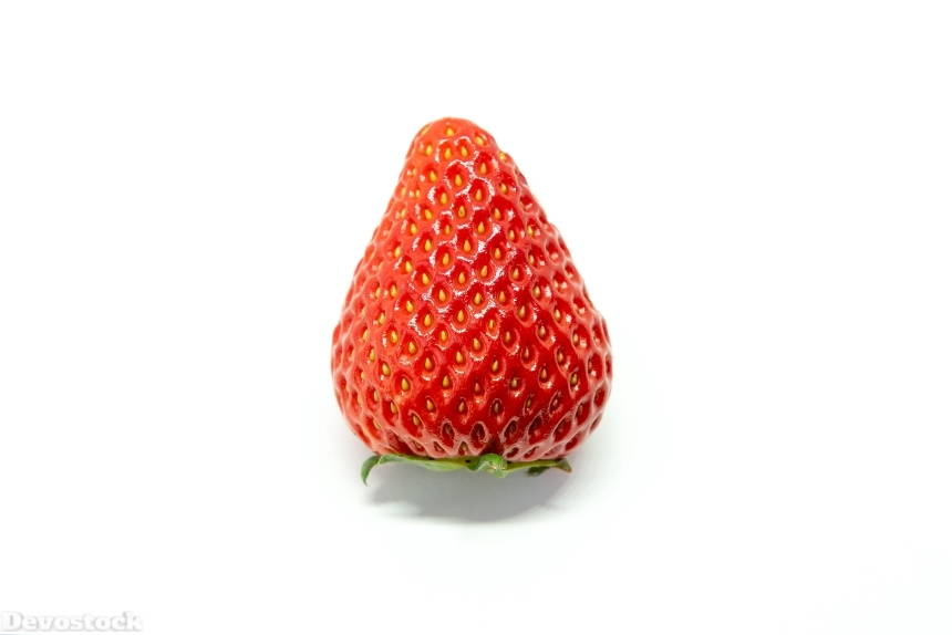 Devostock Food Fruits Healthy One Strawberry White Background 4k