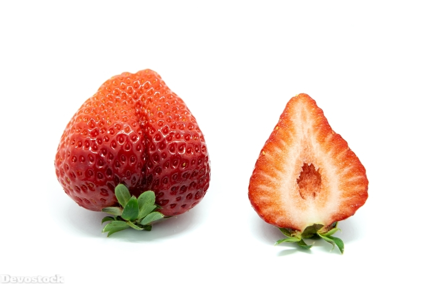 Devostock Food Fruits One Healthy Strawberry Split White Background 4k