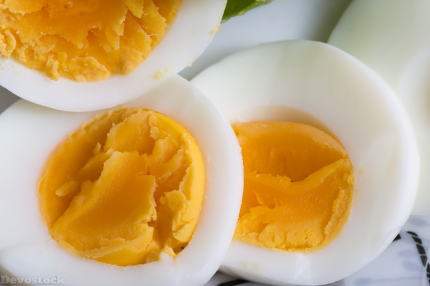 Devostock Food Healthy Organic Very Yellow Boiled Eggs 4k