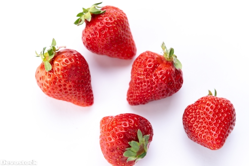 Devostock Fruits Five Food Healthy Strawberry White Background Two Sorts 4k