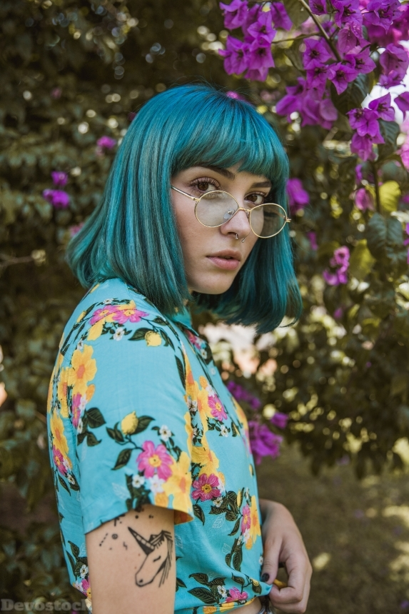 Devostock Girl Beautiful Beauty Eyeglasses Flowers Blue Hair 4K