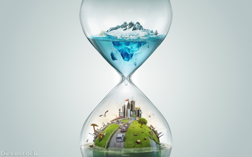 Devostock Hourglass Creative 3D Graphics Sandglass Sand Clock Watch Using Water Global Warming 4k