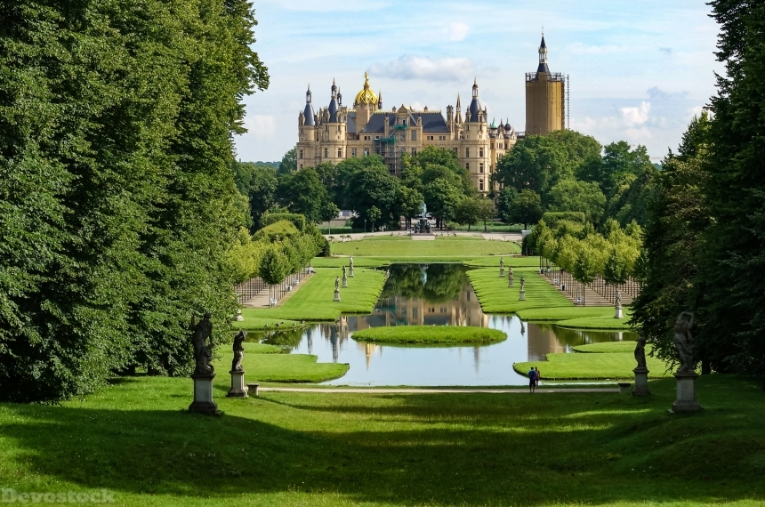 Devostock Nature Germany Castles Parks Sculptures Pond Schwerin Castle Lawn 4k