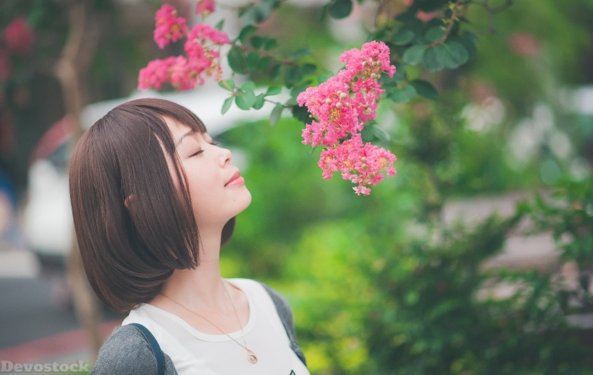 Devostock Outdoor Flowers Taiwanese Girl Smelling Closing Eyes 4k