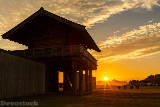 Devostock Outdoor Sunset Traditional House 4k
