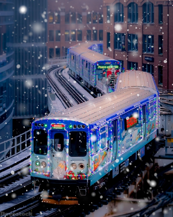 Devostock Railroad Railway Train Snow Winter City 4k