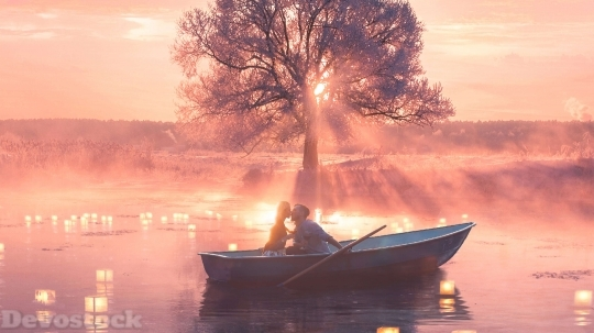Devostock Romantic Couple Boat Fantasy 4K