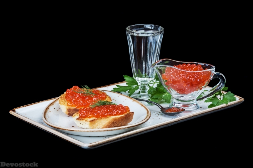 Red caviar and of vodka