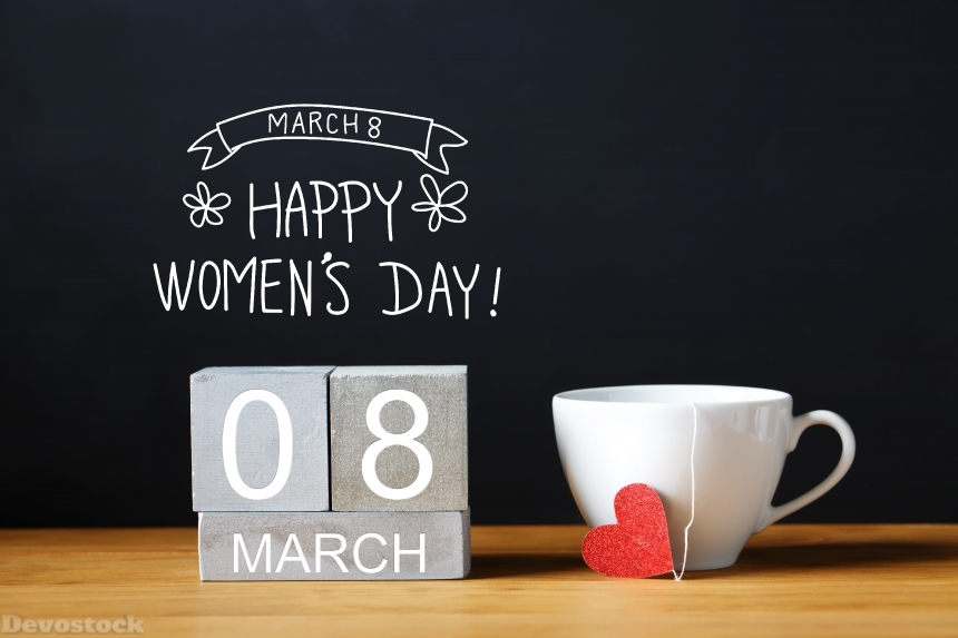 Women's Day message with coffee cup